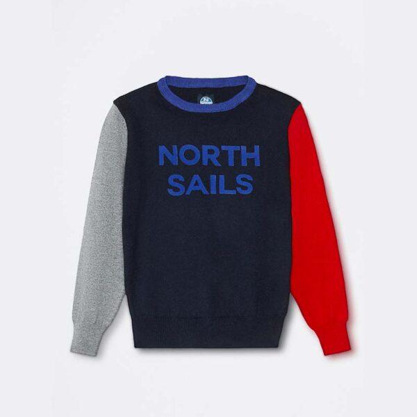 north sails abbigliamento maglia blu maniche colorate con scritta centrale North Sails