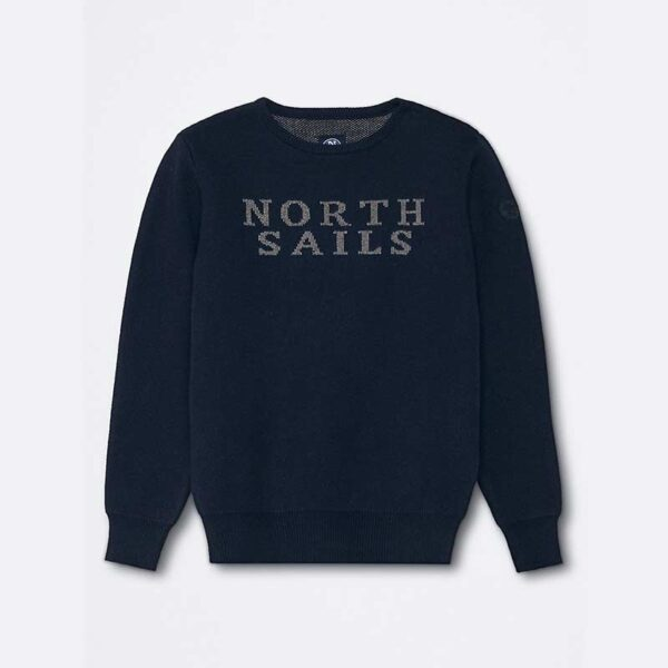 north sails abbigliamento maglia blu maniche lunghe con scritta centrale North Sails
