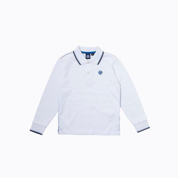 North Sails abbigliamento outlet nuova collezione polo bianca con colletto righino blu
