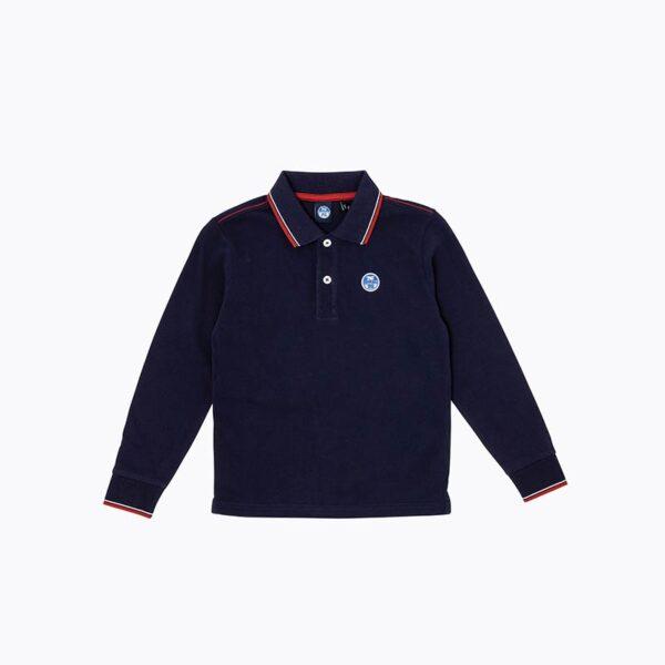 North Sails abbigliamento outlet nuova collezione polo blu con colletto righino rosso