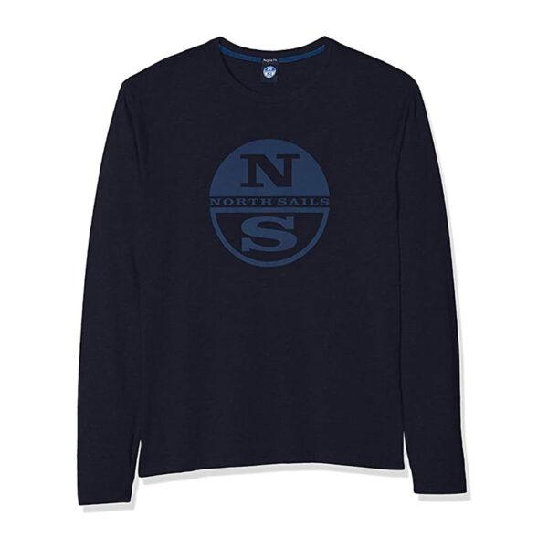 North Sails abbigliamento felpa blu con logo centrale azzurro