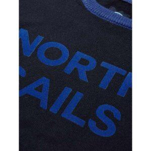 North Sails Abbigliamento Maglia Blu Con Scritta Azzurra Centrale Dettaglio