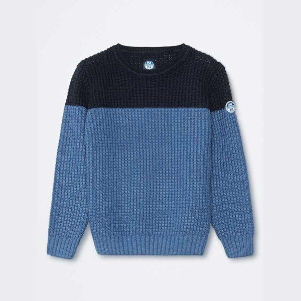 North Sails abbigliamento maglia di filo blu e azzurra a fasce