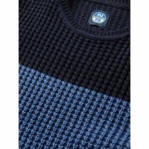 North Sails Abbigliamento Maglia Di Filo Blu E Azzurra A Fasce Dettaglio