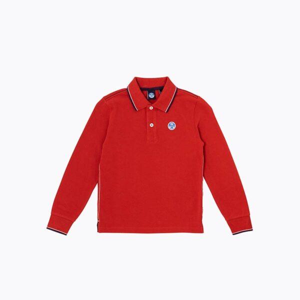 North Sails abbigliamento outlet nuova collezione polo rossa con colletto righino blu