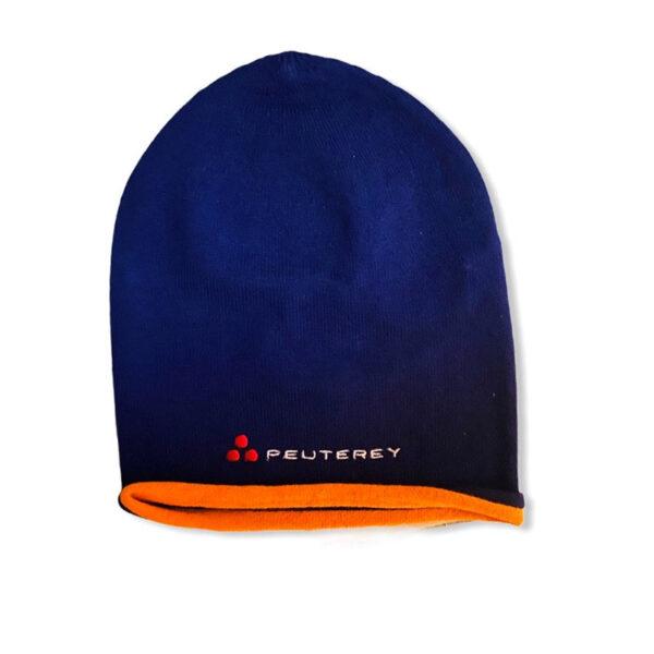 Peuterey outlet cappello blu con logo e bordo arancione scuro