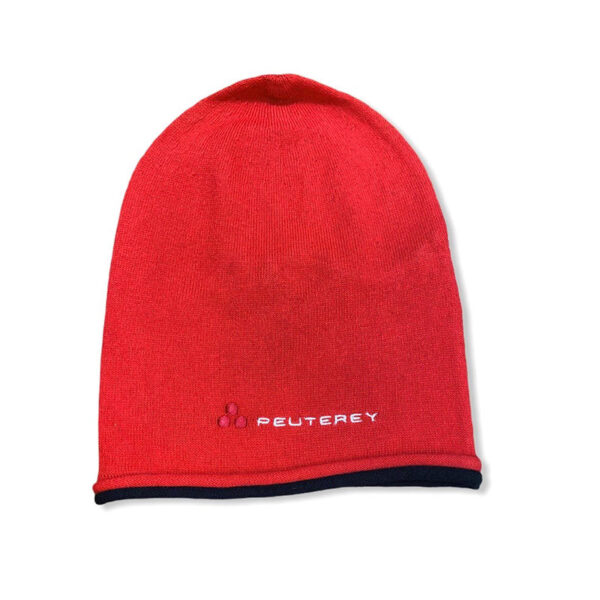 Peuterey outlet cappello rosso con logo e bordo blu scuro
