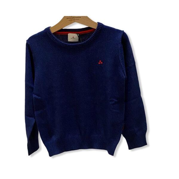 Peuterey outlet maglia blu con loghetto rosso