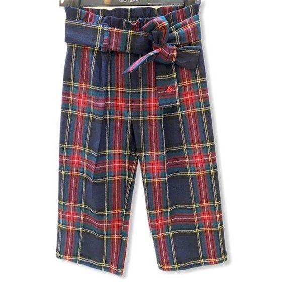 Peuterey outlet pantaloni a scacchi grandi blu e rossi con cintura a fiocco