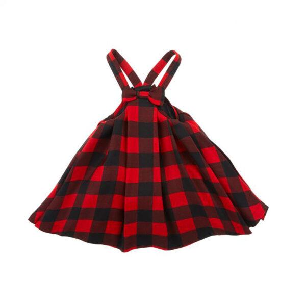 Simonetta abbigliamento abito bambina a scacchi rossi e neri con fiocco centrale