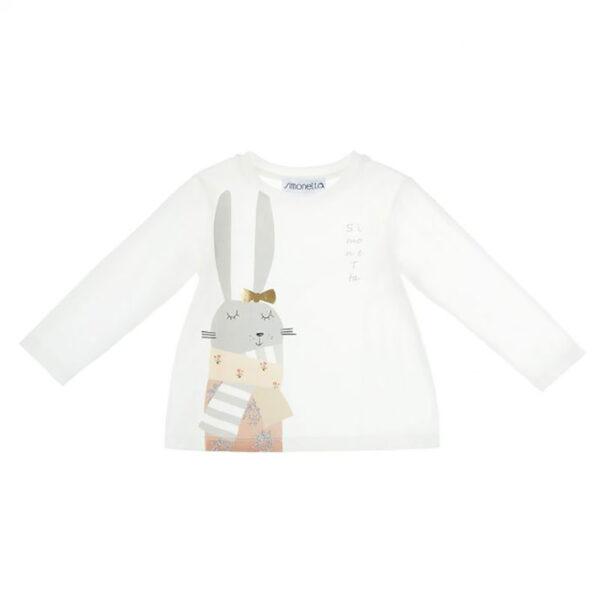 Simonetta abbigliamento bambina maglia bianca con coniglietto ricamato