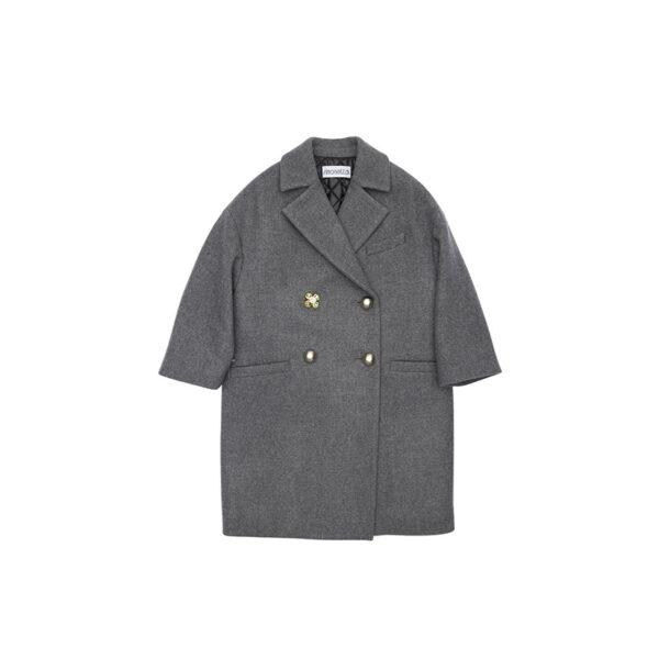 Simonetta cappotto grigio con bottoni dorati