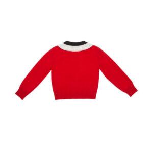 Simonetta Abbigliamento Outlet Nuova Collezione Maglia Rossa Con Collo Fascia Bianca E Nero Retro