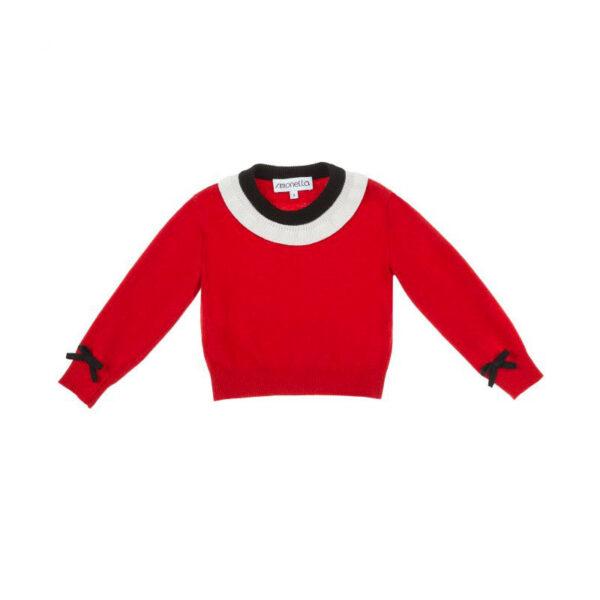 Simonetta abbigliamento outlet nuova collezione maglia rossa con collo fascia bianca e nero