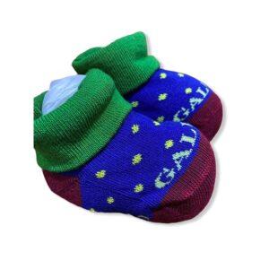 Gallo Babbucce Neonato Blu Con Risvolto Verde