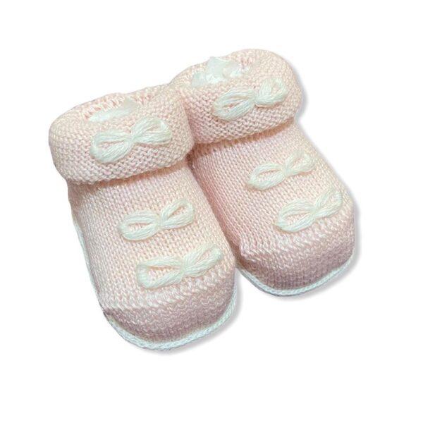 Gallo babbucce rosa per neonata con fiocchetti bianchi