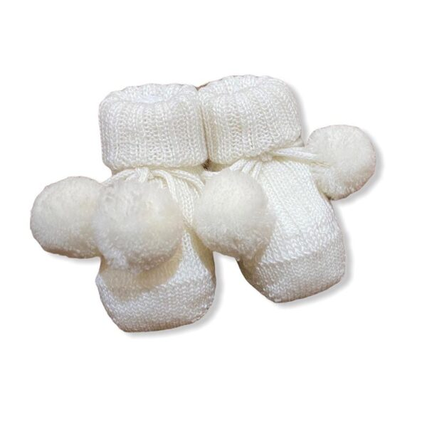 Gallo babbuccia per neonato bianca con pom con bianchi
