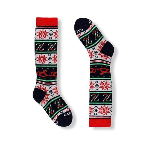 Gallo calzini lunghi fantasia natalizia rosso natale