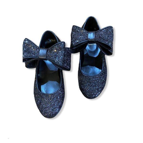 Gallucci ballerine blu lucide con fiocchi grandi e glitter