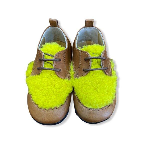 Gallucci scarpe cuoio con pellicciotto giallo