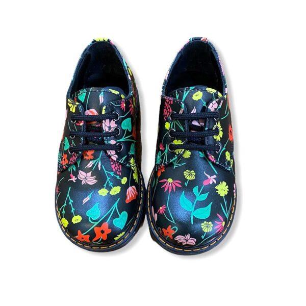 Gallucci scarpe nere con decorazioni floreali multicolore