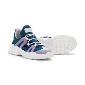Gallucci Sneakers Blue Rosa Con Lacci Bianchi E Suola Bianca
