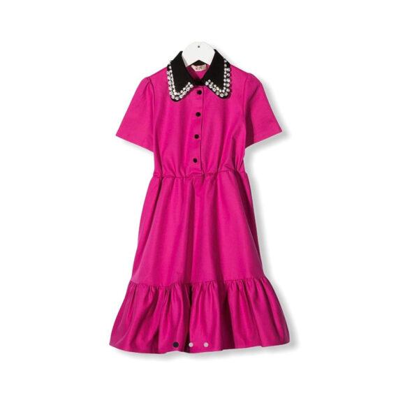 N°21 abito bambina rosa lungo con colletto nero