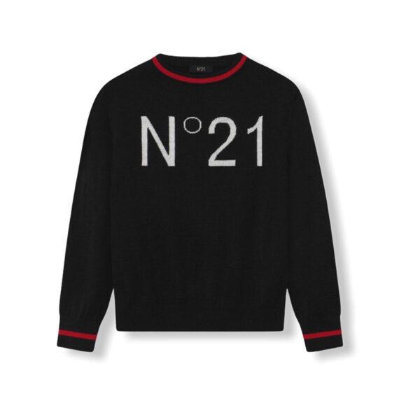 N°21 felpa maglia nera collo e maniche con riga rossa