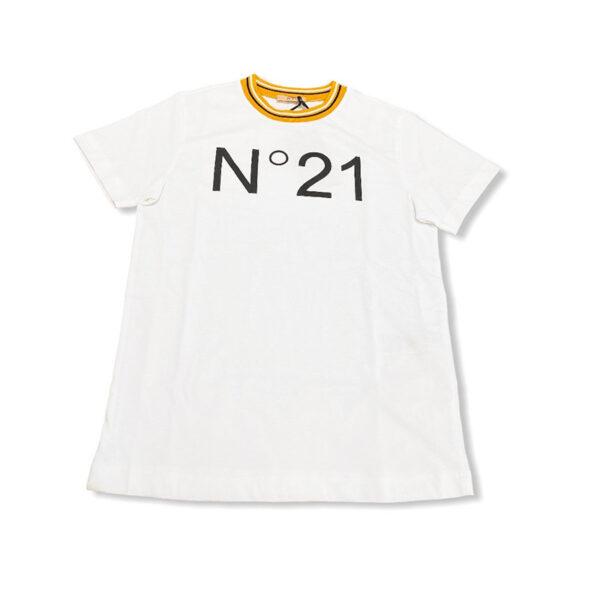 N 21 t-shirt manica corta bianca con colletto arancio
