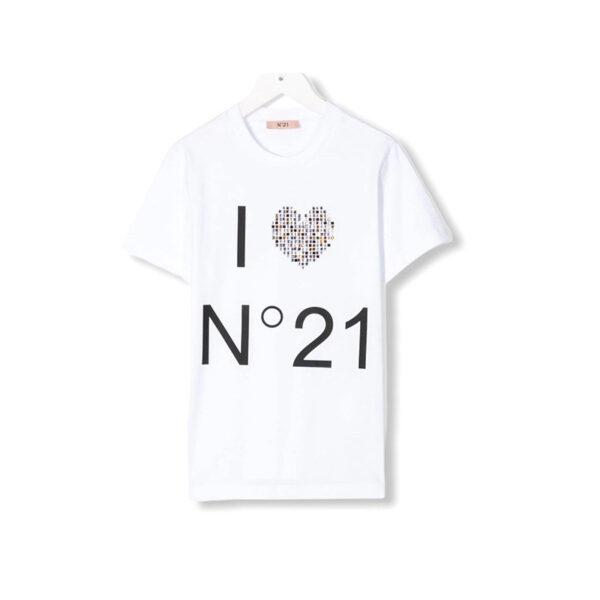 N°21 t-shirt manica corta con cuore a strass