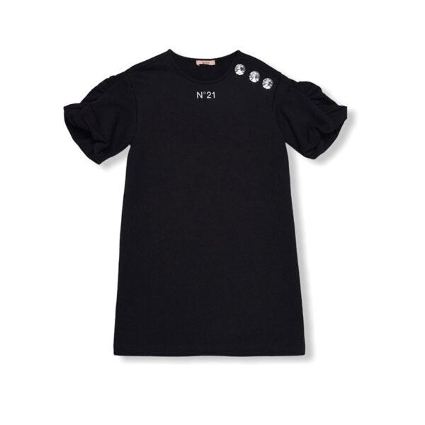 N 21 t-shirt manica corta nera con applicazioni swarovski