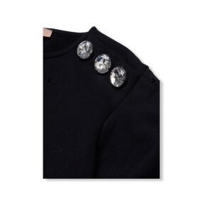 Paolo Pecora T-shirt Nera Nuova Collezione Manica Corta Con Applicazioni Swarovski