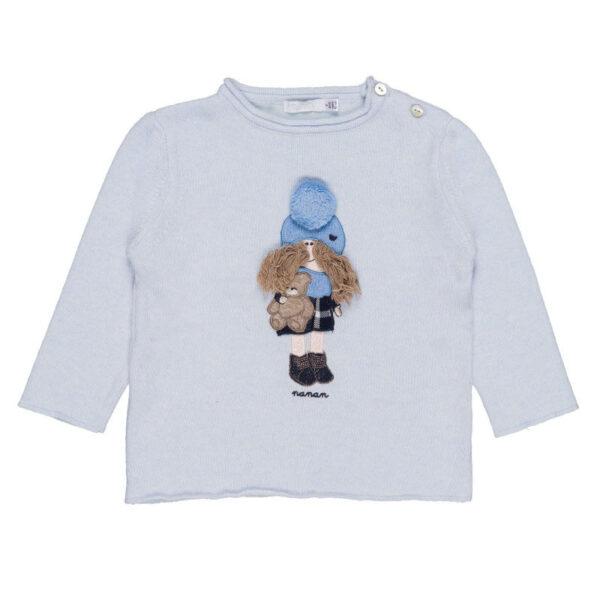 Nanan maglioncino azzurro con ricamo bambina con orsetto