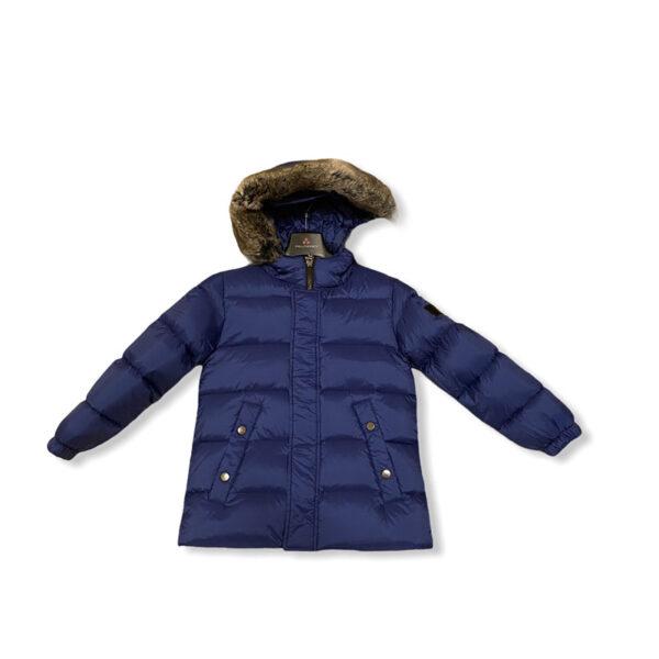 Peuterey giubbotto blu con cappuccio con pellicciotto