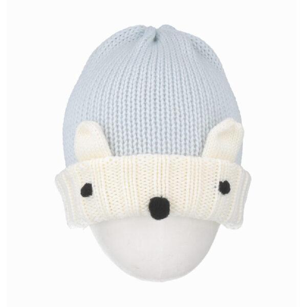 Regina cappello azzurro per bambini con ricamo orsetto