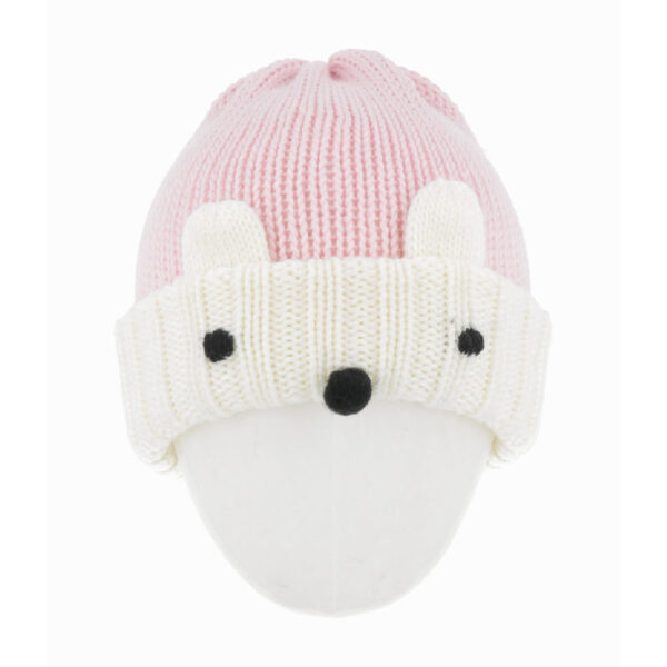 Regina cappello rosa per bambini con ricamo orsetto