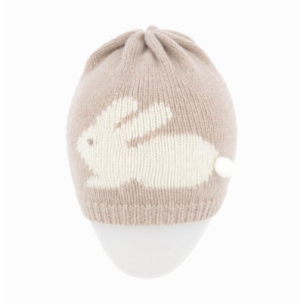 Regina cappello rosa per bambini con ricamo coniglietto