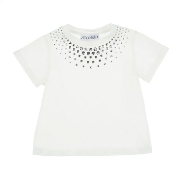 Simonetta outlet tshirt bianca con strass in argento