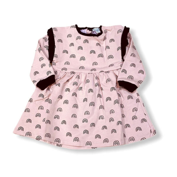 Yell Oh abbigliamento bambini abitino rosa con arcobaleni neri