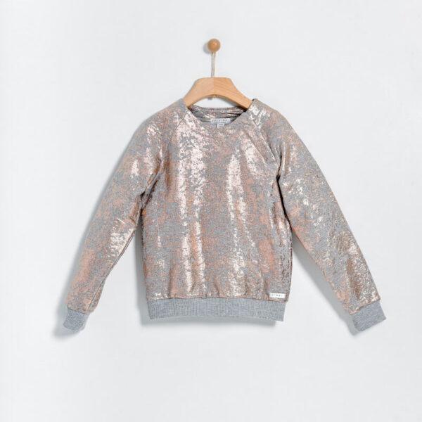 Yell Oh abbigliamento bambini felpa rosa con risvolti grigi e glitter