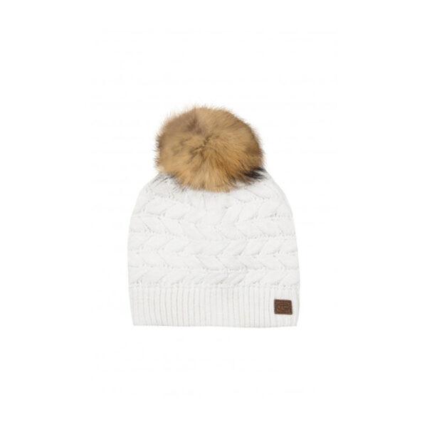 tartine et chocolat cappello bianco con pompon pelliccia
