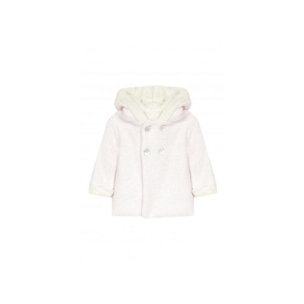 tartine et chocolat giacca di lana rosa con pellicciotto bianco