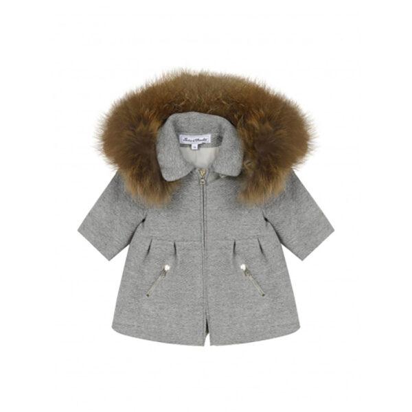 tartine et chocolat giacca grigia con cappuccio con pellicciotto