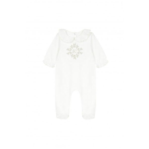 tartine et chocolat tutina neonato bianca con ricamo centrale dorato