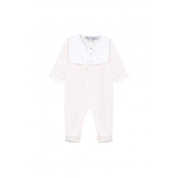 tartine et chocolat tutina per neonato rosa chiaro e colletto bianco