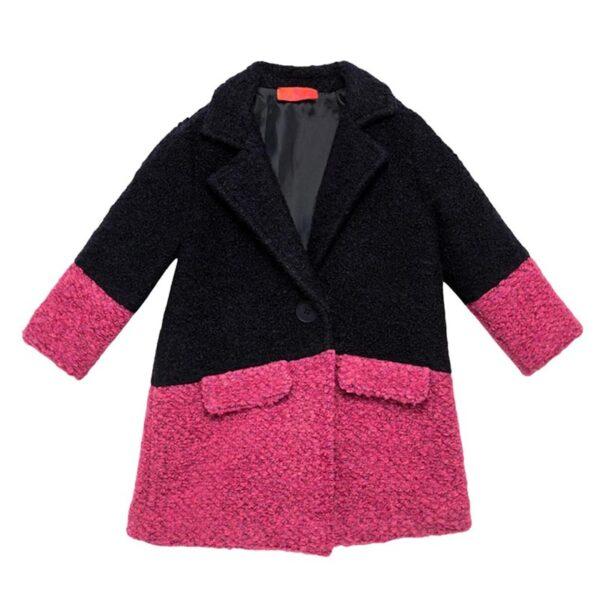 Gallo cappottino bambina rosa e nero con bottone nero centrale