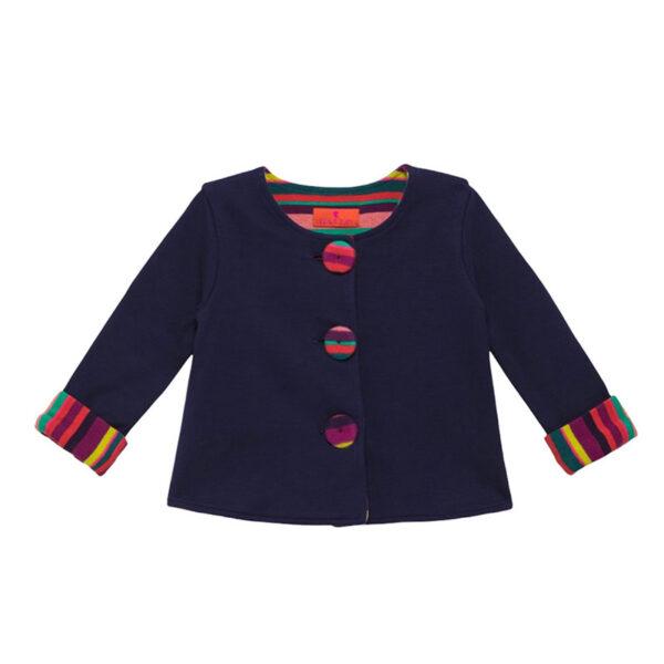 Gallo maglia blu con bottoni e risvolti multicolor