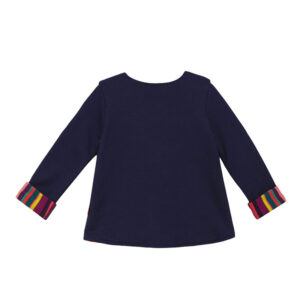 Gallo Maglia Blu Con Bottoni E Risvolti Multicolor Vista Retro