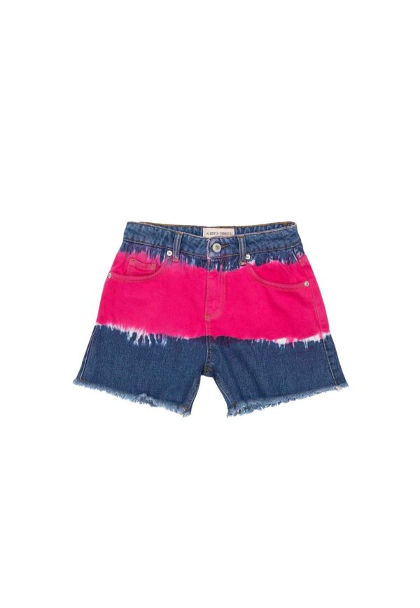 Alberta Ferretti Junior Denim shorts bambina tte dye fronte