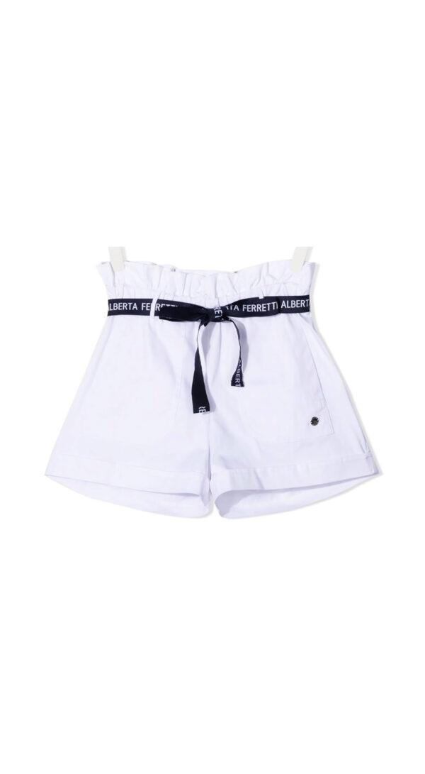Alberta Ferretti Junior shorts bianchi con cintura blu per bambina
